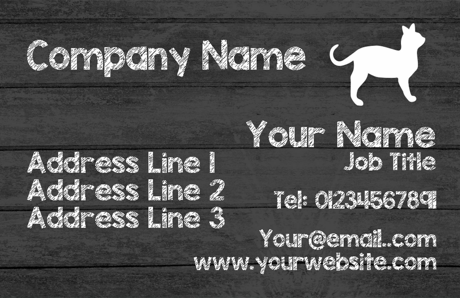 grau Wood Cat Personalised Business Cards