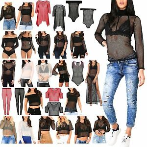 a4a7abd8e8 Details about Womens Ladies Mesh FishNet Oversized Baggy Leggings Hoody  Cropped Long Dress Top