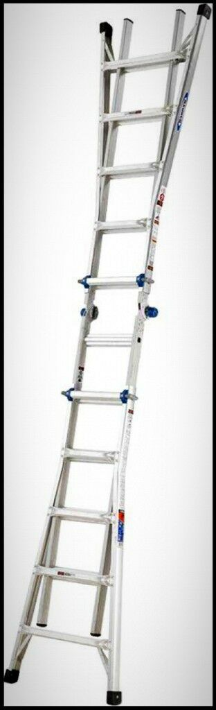 WERNER Twin Step Aluminum Ladder Multi Position Folding Telescoping 300 lb Load