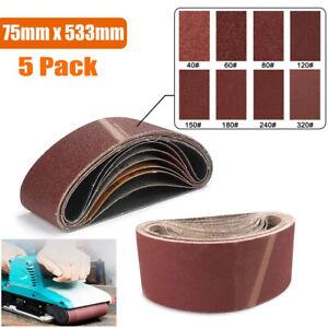 5 PACK 75X533mm SANDING BELTS 40-100 GRITS ABRASIVE ELECTRIC FINGER FILE SANDER