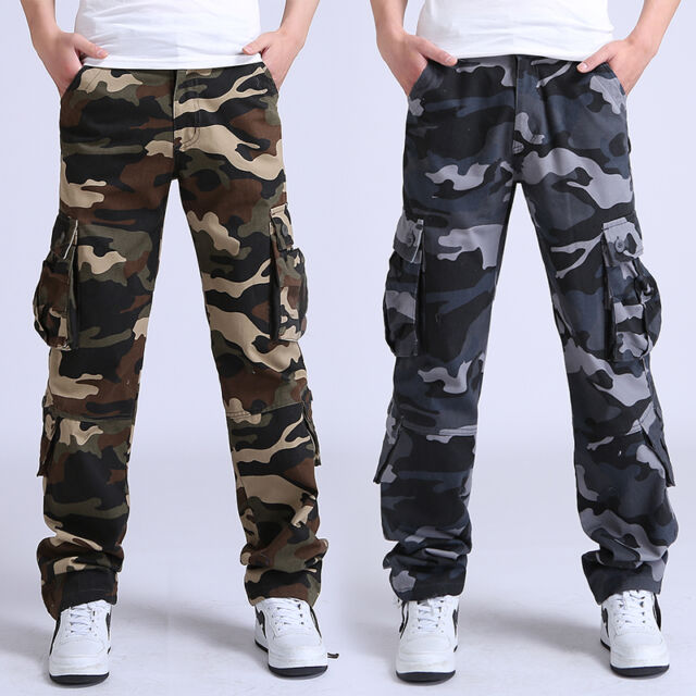 Mens Military Camo 8 pockets Jeans Cargo Combat Pants Leisure Trousers