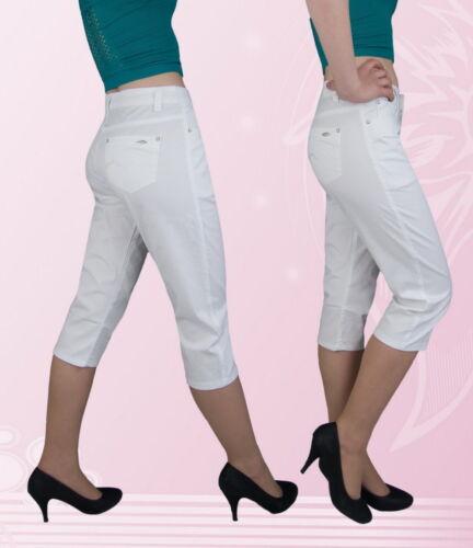 Damen Caprihose Capri Hose Normalsitzend Weiß 50