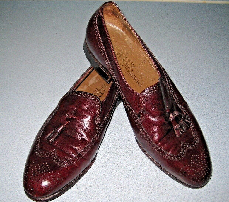 Bally Cordovan Burgundy Leather Tasseled Wing Tip Loafer 9 D Vintage Mens Dress