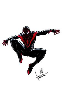 Spiderman Miles Morales Dessin Original Art Sketch Par J H Wzgarda Ebay
