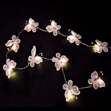 2 x Battery Operated LED Pink Butterfly Chain Lights Novelty Girls Fairy Lights