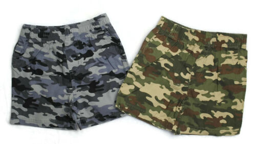 2 NWT GARANIMALS Boys Kid Clothes Spring Summer Gray Green Camo Shorts Sz 3-6 Mo