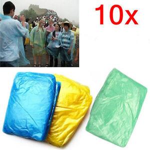 10x-Disposable-Adult-Emergency-Waterproof-Raincoat-Poncho-Hiking-Camping-Hood-RM