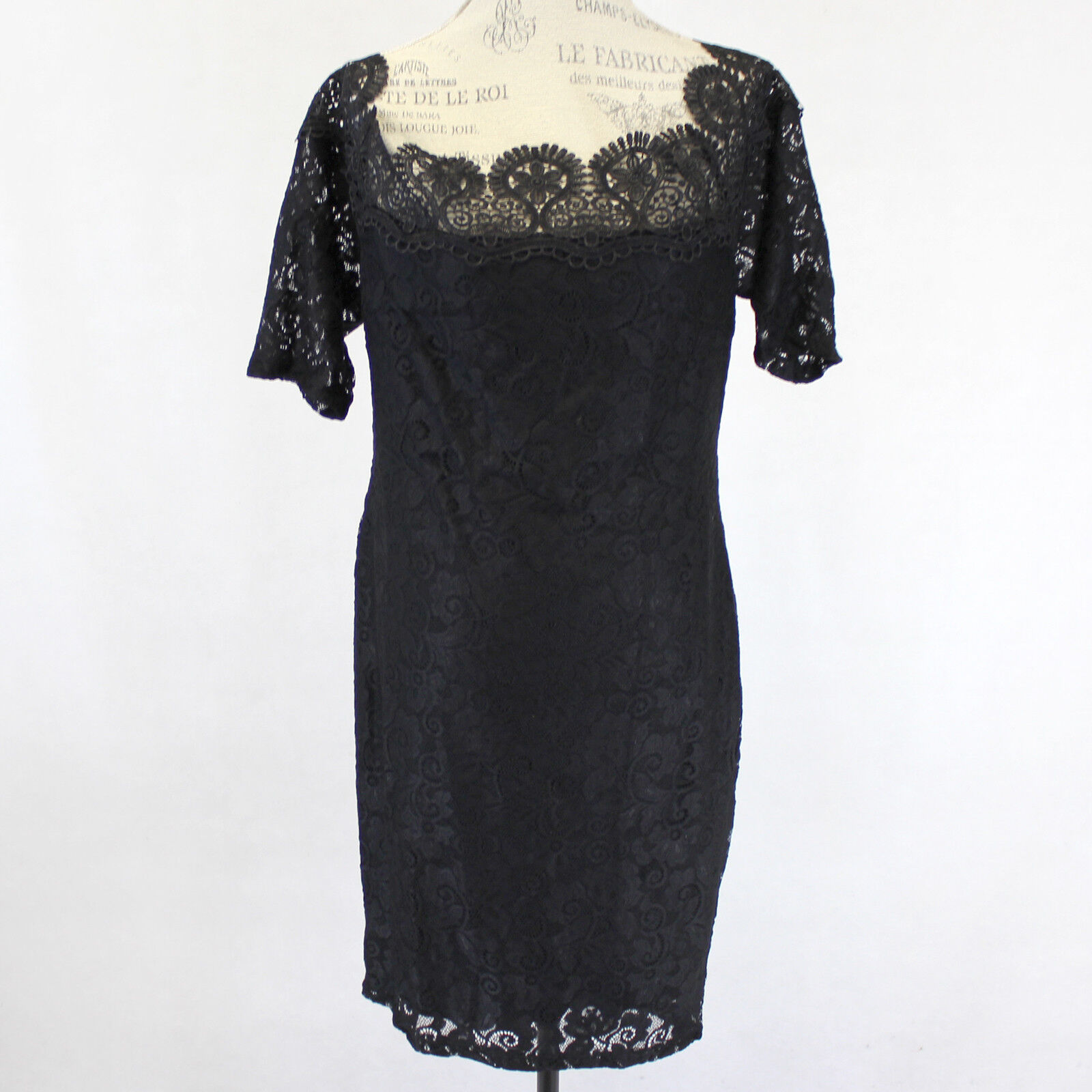 Lilian Woman Lined Lace Knit Stretch Sheath Little schwarz Dress 3X, 3XL