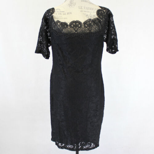 3XL Lilian Woman Lined Lace Knit Stretch Sheath Little Black Dress 3X