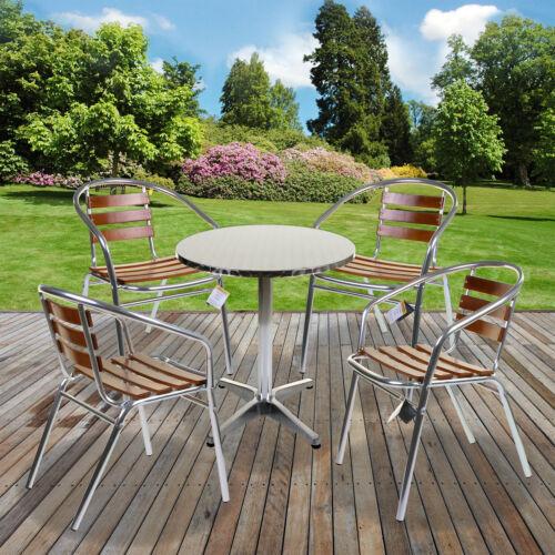 5PC Bistro Sets Aluminium Lightweight Chrome Outdoor Garden Patio Furniture Wood