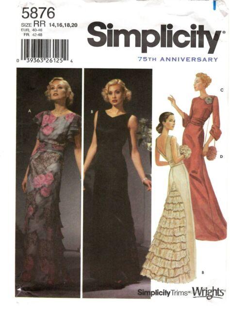 2002 Evening Wear Sewing Pattern U-Pick Size 6-20 Simplicity 5876 OOP