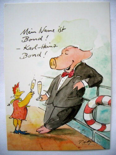 COCHON /& Poule COUPLE.. 10 X 15 * CARTOON ** Carte Postale Peter Gaymann
