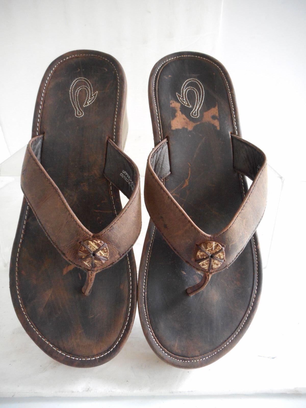 OluKai 'Melia'  brown leather Sandal sz 7