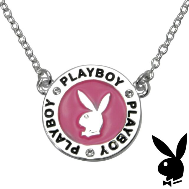 Playboy Necklace Silver Pendant Chain Crystal Pink Enamel Bunny CZ GRADUATION