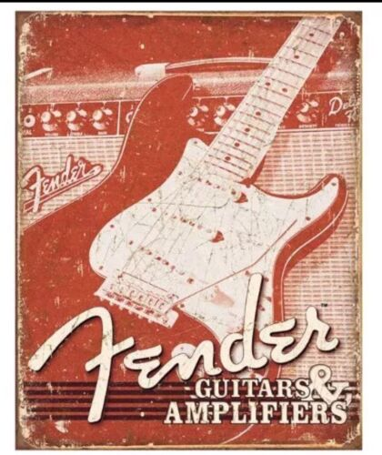 Fender Electric Guitar /& Amps Weathered Distressed Retro Vintage Metal Tin Sign