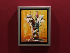 New art oil paintingstill life hand painted wood framed wall home