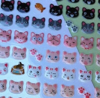 Korea Made 3D Dimensional Funny Sticker World Kitty Cats Head Facial expression
