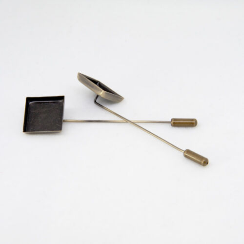 Antique Bronze 16mm Square Stick Pin Setting Blanks