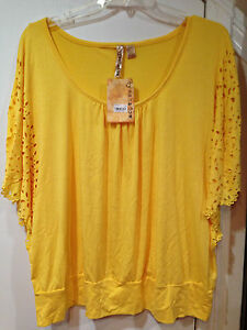 ladies Women's Summer Fall Spring Yellow top tunic blouse ...