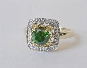 Nuevo-10-Quilates-Oro-Amarillo-Verde-Tsavorite-Diamante-Detalle-Anillo-Size-8-5