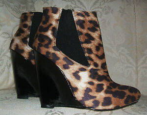 NEW-LOOK-SIZE-4-5-6-CAGGY-LEOPARD-PRINT-BLACK-PATENT-WEDGE-CHELSEA-ANKLE-BOOTS