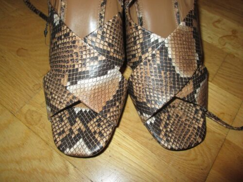 next brown mix snake print leg strap shoes size 8 eur 42 brand new with tags
