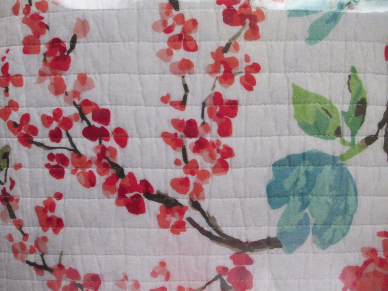 SIMONE 3pc Cotton Weiß rot Aqua Bird Floral Quilt & 2 Standard Shams-Full Queen