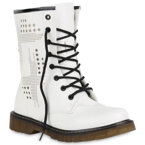 892936 Damen Herren Stiefeletten Worker Boots Schnürstiefel Cut-outs Trendy