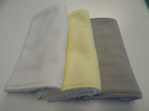 White Yellow Grey Burp Cloths Toweling Backed Great Gift Set Of 3 Flannelette