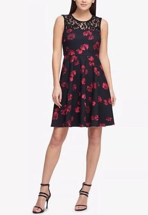 Dkny Ärmellos Passend & Ausgestellt Kleid Blaumenmuster Kadmium Rot Schwarz 4 S