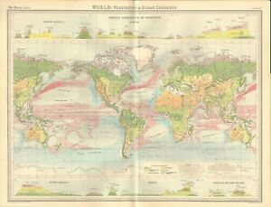 World Map With Currents.1920 Antique Map World Vegetation And Ocean Currents Ebay