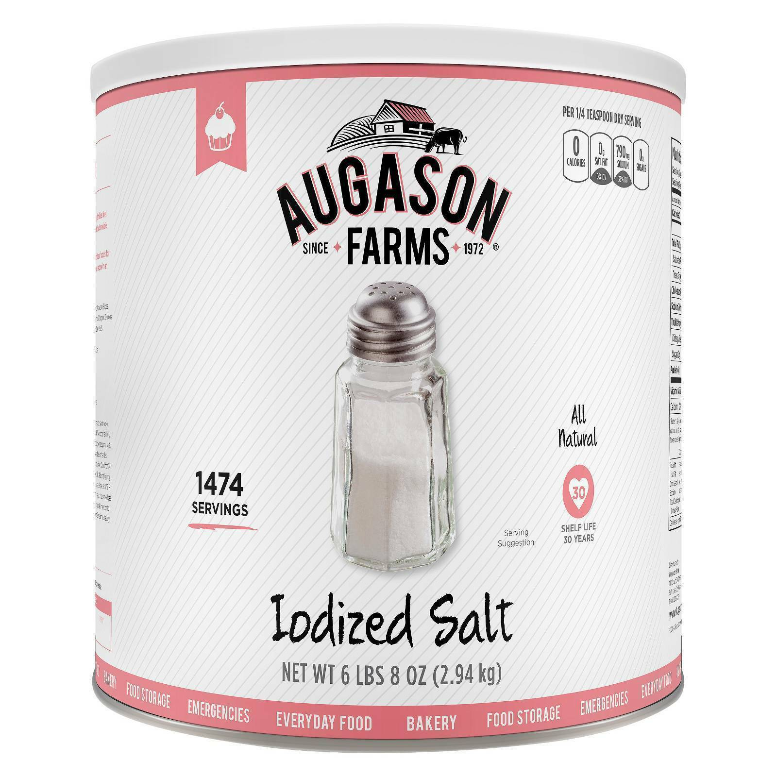 Augason Farms Emergency Food Iodized Salt 104 oz Prepper  Food Storage Doomsday  store