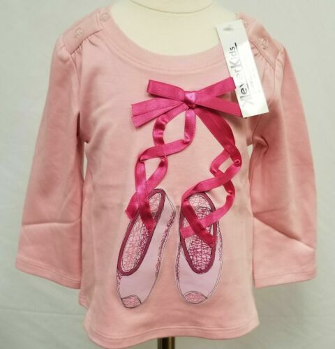 Klever Kids Long Sleeve Shirt Ballerina Ballet Shoes bow ribbon pink magenta