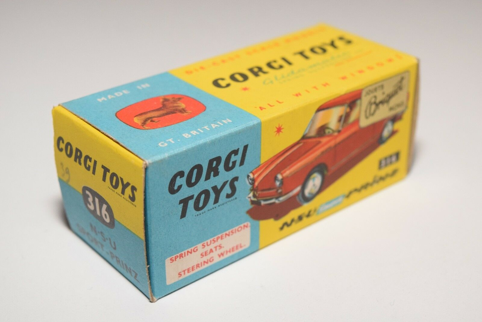 43 CORGI TOYS 316 ORIGINAL EMPTY BOX NSU SPORT PRINZ NEAR MINT CONDITION