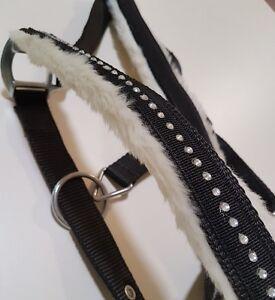 Diamante Black Horse Halter White Mink Padded Crystal Halter O-Ring Full or Cob