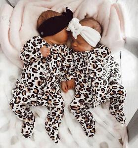 7c79b6b884 Newborn Baby Girl Boy Leopard print Clothes Romper Bodysuit Jumpsuit ...