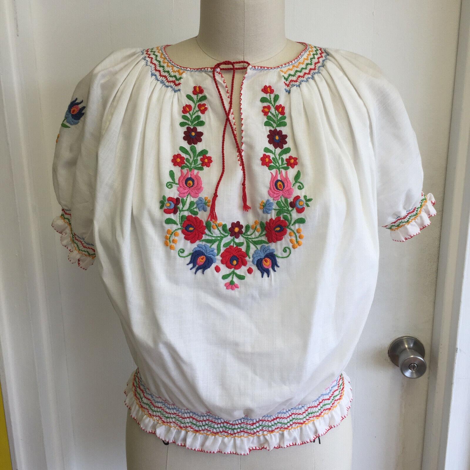 Vintage Hungarian Blouse Unworn Embroidered Peasa… - image 1