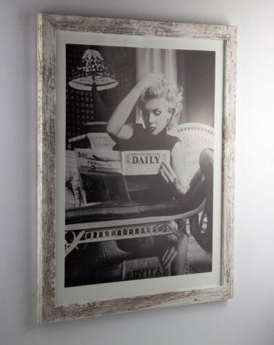 Bilderrahmen Orion Weiß-Vintage Holz-MDF Foto Poster Puzzle Rahmen Größe wählbar