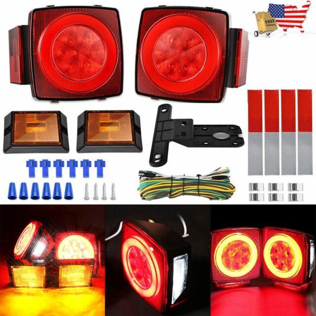 2 x 12v Led Red Rear Side Marker Light For Transporter Truck Trailer Waterproof