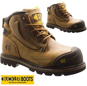 f7234dc7709 Details about MENS BUCKLER LEATHER WIDE FIT STEEL TOE CAP SAFETY SHOES WORK  BOOTS TRAINERS NEW