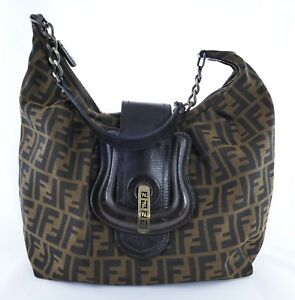Image is loading Fendi-Zucca-Tobacco-Print-Canvas-Satchel-Hobo-Shoulder- e44be801cfcce