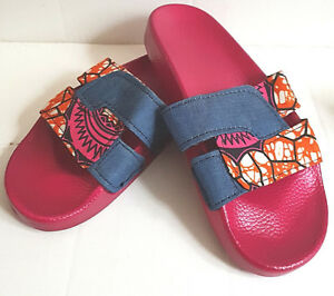 a7aaa0460 Image is loading Womens-Girl-Faux-leather-African-Ankara-Fabric-Blue-