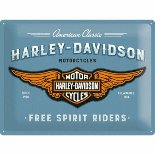 Harley Davidson Alas Metal SIGN-Americana-Cueva de hombre-Envío Gratis RRP £ 14