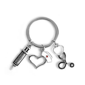 Caduceus Black Leather Metal Keychain Key Ring