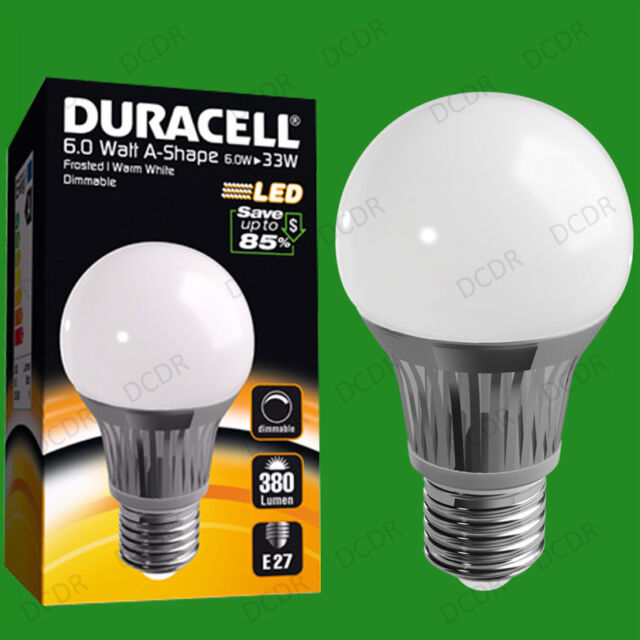 6W Dimmable Duracell LED Frosted GLS Globe Instant On Light Bulb ES E27 Lamp