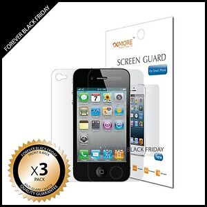 iPhone-4-4S-Screen-Protector-Anti-Glare-Matte-3x-Front-Back-Cover-Guard-Shield