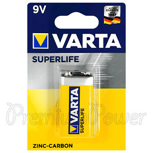 1-x-Varta-9V-SuperLife-battery-Zinc-Carbon-E-Block-2022-6F22-for-Clocks-Remote