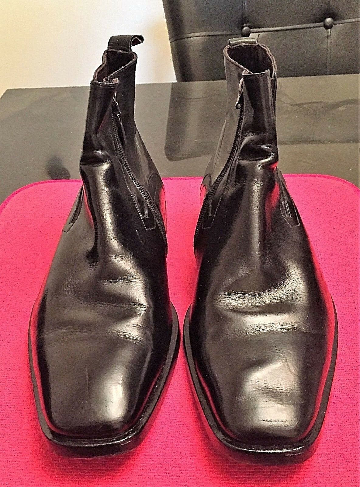 BRUNO MAGLI MEN'S BLACK CALF LEATHER MID ANKLE BOOTS SIZE 11M MINT