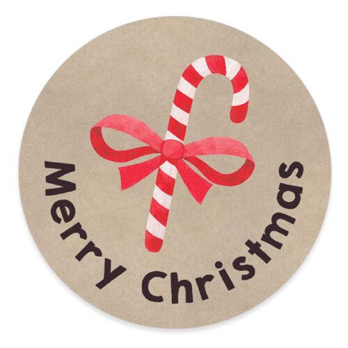 Christmas Candy Cane Kraft Present Sticker Merry Happy Xmas Gift Label C22