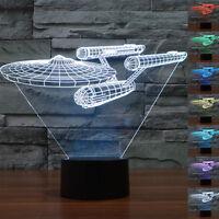Star Trek USS Enterprise 3D LED Tischlampe Nachtlicht 7-Farben Tischlampe Magie